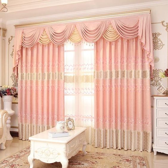 ผ้าม่านสีชมพูโอรส