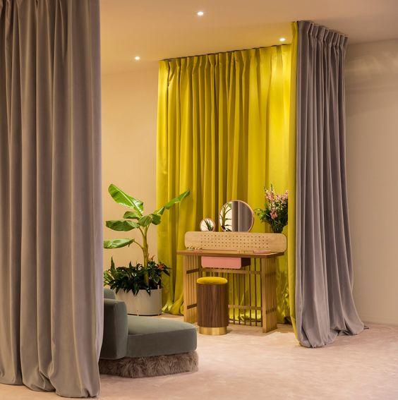 ผ้าม่านกั้นห้องสีเหลืองทูโทน