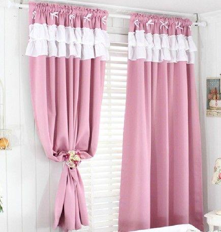 ผ้าม่านสีชมพู มีระบาย