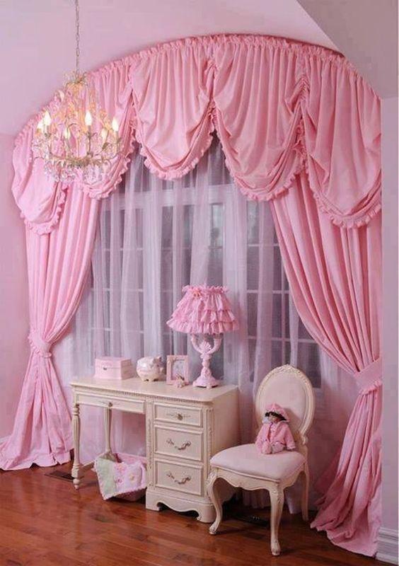 ผ้าม่านสีชมพู สวย
