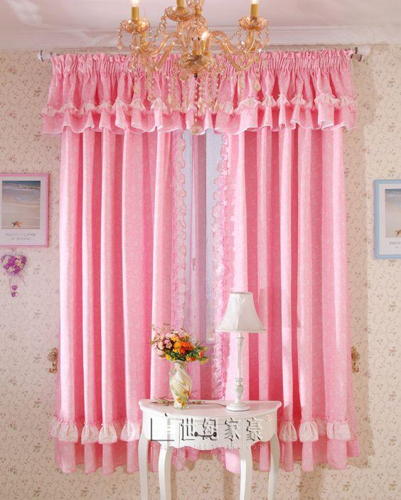 ผ้าม่านสีชมพูสด น่ารัก