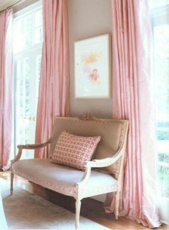 ผ้าม่านสีชมพู น่ารัก หวานแหวว