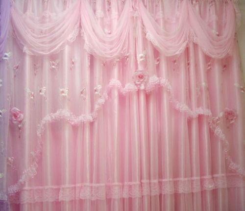 ผ้าม่านสองชั้นสีชมพู