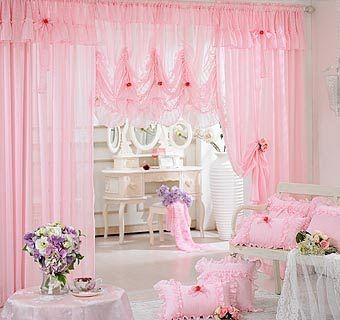 ผ้าม่านโปร่งสีชมพู